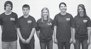 The top scoring Bible Quiz team in league B at the Sunday, March 8, meet was Flaming Sword from North Clinton Mennonite Church. Team members winning all three matches were, from left: Russell McClarren, Caleb Yoder, Kira Andre, Jacque Seigneur and Tessa Yoder. - courtesy photo