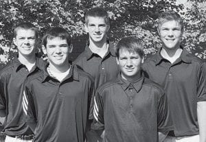 Five letterwinners return for the AHS golf team. Front row, from left: Zac Grosjean, Olley Short. Back row: Jacob Nafziger, Steve Nafziger, Jarrett Yoder.-  photo by Mary Huber