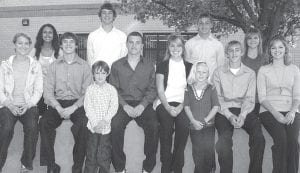 Members of the 2009 Archbold High School Homecoming Court are, seated, from left: Aleah Lambright, senior attendant; Sam Miller, senior escort; Zeke Beck, prince; Giacomo Sgarib, AHS foreign exchange student from Italy and Homecoming King; Kylie Smith, 2009 AHS Homecoming Queen; Brianna Coleman, princess; Justin Allison, junior escort; and Lauren Stuckey, junior attendant. Back row: Ashlee Leilous, sophomore attendant; Dylan Wyse, sophomore escort; Seth Yoder, freshman escort, and Kinsey Smith, freshman attendant. Homecoming events begin Friday, Sept. 25, with a football game against Swanton, and are followed by a dance Saturday, Sept. 26.– photo by David Pugh