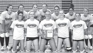 The AHS volleyball team defeated Otsego in the final of the Streak Spiketacular, Saturday, Oct. 3. Front row, from left: Mindy Wyse, Alyssa Schaub, Stacy Wyse, Emily Snyder, Jenna Nofziger. Back row: Hailey Galvan, Sarah Wyse, Nicole Hurst, Betsy Wyse, Devin Newman, Andrea Allan, Brittany Coressel.– courtesy photo