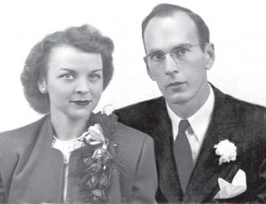 Top: Kathryn and Harold Meyer, in their 1945 wedding photo. The two fell in love while serving in the U.S. Army. They were married in the chapel of an Army hospital in Georgia, and were together for 49 years, raising six children. Right: The couple in a more recent photo. Harold died in 1995; Kathryn, in 2008. They are buried together in the Archbold Cemetery. –courtesy     photos