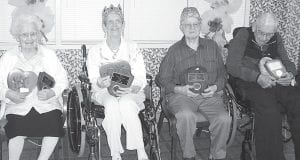 The Fairlawn Haven king and queen were crowned at the Valentine party on Thursday, Feb. 11. From left: Lucille Short, runner-up queen; Jo Lantz, queen; Lester Nafziger, king; Robert Nyce, runner-up king.– courtesy photo