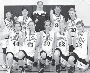 The Pettisville eighth grade girls basketball team was the Buckeye Border Conference tournament champion. The Birds finished second in the BBC during the regular season. Front row, from left: Kaylyn McDermott, Audra Klopfenstein, Lauren Hostetler, Emily Hubby, Alyssa Spiess. Back row: Claire Waidelich; Yari Coronado; Kendra Stahl, coach; Andrea Hernandez; Taylor Schnitkey.– courtesy photo