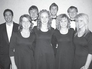 Archbold High School students singing with the Northwest Ohio Music Education Association Honors Choir are, front row, from left: Erin Nafziger, Haley Behnfeldt, Brie Deskins, and Bailey Mayer. Back row: Lucas Burnett, Adam Steider, Jarrett Yoder, and John Hartman. –courtesy photo