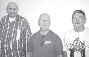 Winners in the Feb. 1 pool tournament at Wyse Commons, Fairlawn Haven, Archbold, are, from left: Fred Wells, third; Bob Grieser, second; Russ McQuillin, first.–courtesy photo