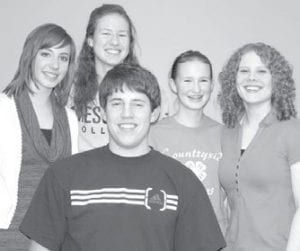 """Having a great day quizzing at their home church, """"Berg"""" from West Clinton scored 485 points in four matches to win a pizza certificate for the thirdhighest average score of the day. Team members are, front: Greg Waidelich; back row, from left: Sarah Aeschliman, Becca Short, Emily Short, Ellen Roth. Aeschliman, B. Short, Roth, and Waidelich, all seniors, started quizzing as seventh graders in 2005.– courtesy photo"""