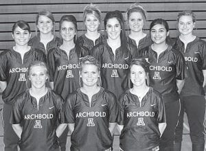 Letterwinners on the AHS softball team are, kneeling from left: Alyssa Schaub, Stacy Wyse, Courtney Day. Second row: Jenna Nofziger, Mindy Wyse, Andrea Allan, Lex Campos. Third row: Sarah Wyse, Abbey Graber, Devin Newman, Morgan Ducey.– photo by Mary Huber