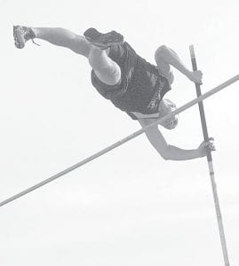 Lincoln Frey, shown in Pettisville's April 3 meet with Liberty Center, set a record in the pole vault in the Birds' tri-meet with Otsego and Cardinal Stritch.– photo by D.J. Neuenschwander