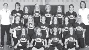 Front row, from left : Mackenzie Riegsecker, Katie Nofziger, Molly Bruner, Delaney Nofziger. Middle row: Adi Bruner, Ashlyn Bontrager, Kayla King, Taylor Kruse, Lexie King, Kaitlin Nofziger. Back row: Kendra Stahl, head coach; Ashleigh Colon, Ellen Roth, Erica King, Lauren Roth, Ashley Eicher, Lauren Frey; Ashley Stuckey, assistant coach.