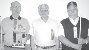 Winners of the May 3, 2010 Wyse Commons pool tournament are, from left: Hank Schweinhagen, first place; Chuck Wyse, second; Dave Schaffner, third. –courtesy photo