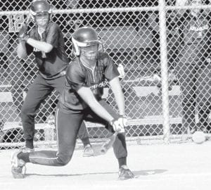 Stacy Wyse, shown batting against Evergreen, April 22, hit a two-run homer in Archbold's 4-2 NWOAL victory over Patrick Henry, Thursday, April 29. The Streaks are atop the league with a 6-0 record.–photo by Mary Huber