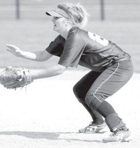 Devin Newman, Blue Streak second baseman, gets ready to field a hit.–photo by Mary Huber