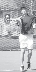 Nick Cassidy defeated his Napoleon opponent last week in AHS tennis action.–photo     by Scott Schultz