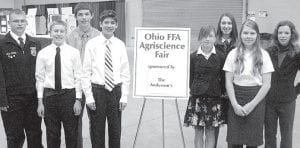 Eight Pettisville students competed at the Ohio FFA Convention Agriscience Fair and placed well in their divisions. From left: Luke Meller, 10th grade, first place engineering; Eliot Hartzler, 8th grade, third place, environmental science; Josiah Hoops, 8th grade, second place, engineering; Daniel Sauder, 8th grade, first place, engineering; Angela Austin, 8th grade, participated in engineering; Taylor Kruse, 10th grade, first place, botany; Chrysta Beck, 8th grade, first place, zoology; Shelby Miller, 8th grade, second place, environmental science. –courtesy pho t o