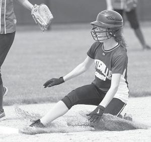 Lexie King steals second in the sixth inning of Pettisville's sectional final with Stryker. Lauren Frey's double brought King home, the first of four runs in the inning for PHS which sealed the 8-2 victory.– photo by Mary Huber