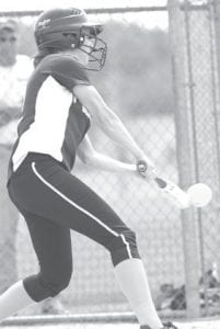 Delaney Nofziger goes to bat for Pettisville. Nofziger pitched the Blackbirds to an 8-2 sectional final victory over Stryker, Saturday, May 15.–photo     by Mary Huber