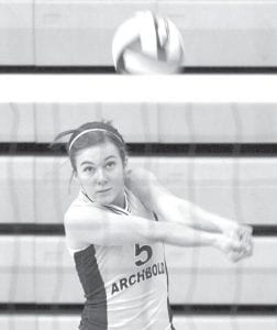 Chelsea Goebel keeps her eye on the ball and passes the ball to the setter in the championship match of the Streak Spike- Tacular, Saturday, Oct. 2.– photo by Mary Huber