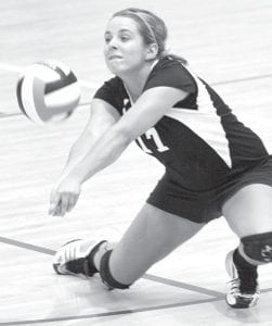 Lauren Frey digs a spike in Pettisville's first BBC contest with Edon on Sept. 23. The Blackbirds won the first match in five games, so Edon will be out for revenge in their second matchup. The two BBC rivals are both 8-1 in the league and play tomorrow, Thursday, in the Bird Cage at PHS for the conference championship.– photo by Mary Huber