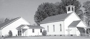 The West Franklin Church of Christ as it stands today, on Co. Rd. 26-2 north of US20A. The original structure, to the right, was constructed in 1866-67. At left is the fellowship hall addition, constructed in 2004. Settlers in Franklin County began holding religious services in cabins in the 1830s.– courtesy photo