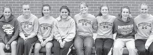 Members of the PHS girls cross country team who placed fourth at the Div. III district meet and qualified for the regional meet are, from left: Lauren Hostetler, Samantha Shinhearl, Tanner Hostetler, Brady Avina, Kayla King, Lexie King, Taylor D'Alelio, Amber Loar.– photo     courtesy Jack Frey