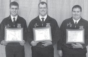 Pettisville FFA members receiving American FFA Degrees are, from left: Tim Spiess, John Bruner, Bryce Stilwill.– courtesy photo