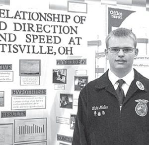 Luke Meller, left, received a gold award for his project in the National Agriscience Fair; Taylor Kruse, right, placed third and also received a gold award.– courtesy photos