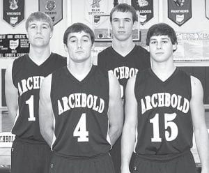 Returning letterwinners on the AHS boys basketball team. From left: Garrett Morton, Clay Giesige, Luke Kammeyer, Telly Fricke.– photo by Mary Huber