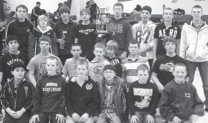 Archbold finished third at the Eisenhower Junior High Wrestling Invitational, Saturday, Jan. 8, at Eisenhower Middle School in Oregon. Front row, from left: Hayden Galvan, Gabe Petersen, Sam Petersen, Elijah Alvarado, Shane Eicher, Gibson Burkholder. Middle row: Jorge Arce, Derek Humbert, Damian Short, Isaac Petersen, Blake Baden, Mitchell Hogrefe, Oran Humbert. Back row: Garrett Grime, Zack Meyer, Jesus Rocha, CJ Brubaker, Ethan Warncke, Hayden Galvan, Lukas Rufenacht, Logan Baynes.– courtesy photo