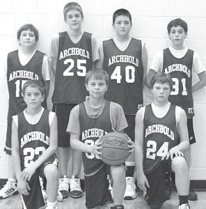 The Archbold sixth grade boys basketball team placed second in the Stryker tournament, Sunday, Jan. 30. The Streaks beat Stryker 27-16 and Montpelier 23-12, then fell to Napoleon in the championship game 28-19. Team members are, front row from left: Toby Walker, Jonah Waidelich, Austin Welch. Back row: Jereme Rupp, Jack Fisher, Alex Short, Lucas Rupp. Absent: Ian Radabaugh. The team has three remaining tournaments at Tinora, Archbold, and Delta.– courtesy photo
