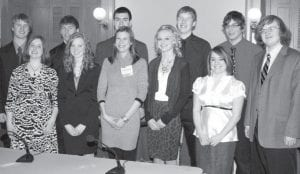"""Members of the 2011 Archbold High School Leininger, Colin Lehman, John Hartman. """"We The People"""" team are, front row, from left: The competition, in which students testify as Mary Lee Sauder; Rachel Bowman; Andrea experts in a mock Congressional hearing, was Badenhop, AHS AP government teacher; held in the Ohio Statehouse in Columbus late Emily Grisier; Elise Sauder. Back row: Nick last month.– courtesy photo Cassidy, Tanner Wyse, Chan Tinsman, Drew"""