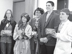 """Zion's """"Magicians and Wise Men"""" won a prize for dressing up and mystifying the staff with their antics at the Bible Quiz meet, Sunday, Feb. 13. From left: Hannah Short, Josh Liechty, Gabe Short, Zach Zimmerman, Nathan Yoder. The team won both matches and averaged 135 points. Stan and Sue Short, parents of three Bible quizzers, and Ben Frey are the coaches.– courtesy photo"""