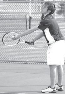 McCaylen Croninger, above, and doubles partner Chan Tinsman defeated their Wauseon opponents last week.– photo by Scott Schultz