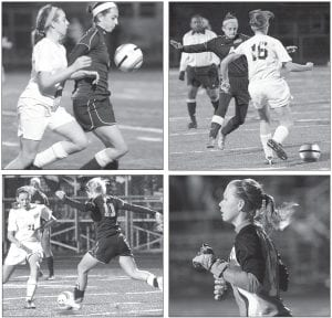 Clockwise from upper left: Mindy Rupp holds off a Gator and controls the ball; Sierra Nofziger (4) tries to steal the ball from Emma Evans (16); goalkeeper Nichole Wood keeps an eye out for a shot; Carley Wyse (10) dribbles toward Michelle Delaney. The four seniors played in their final game as Blue Streaks.– photos by Mary Huber