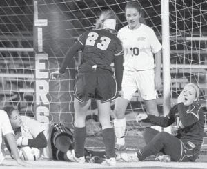 Carley Wyse (23) and Lauren Kindinger, far right
