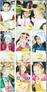Each year, Archbold kindergarten students sit down to a meal that recreates the first Thanksgiving, when the Pilgrims and native Indians gathered to share a feast. The Thanksgiving Feast has been a tradition for many years. Top row, from left: Felipe Garcia; Anahi Gutierrez and Sonny Garcia. Center row, from left: Elena Russell; Briena Partin; Alayna Perez. Bottom row, from left: Colten Beaverson; Cameron Lemley; Gabby Leupp.– photos by David Pugh