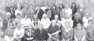 The Archbold High School Class of 1971 met for its 40th reunion, Saturday, Oct. 22, at the American Legion in Archbold. Front row, from left: Peggy Winzeler, Jake Dominique, Susan (Plassman) Dominique, Norma Wyse, Lonnie Blosser, Barb Kleck, Nancy (Armstrong) Emens, Linda (Alexander) Sanford. Second row: Mary Beth (Short) Collins, Toni (Grieser) Vajen, Karen (Wyse) Gerig, Rhonda (Wyse) McGraw, Rosemary (Bartel) Fetterman, Joyce Aschliman, Doug Short, Vicki (Rychener) Lampert, Randy Nofzinger. Third row: JoAnne (Fielitz) Rupp, Beth (Riegsecker) Lugbill, Rick Merillat, Bill Beck, Linda (Lero) Bergstedt, Betty (Short) Tingley, Jane (King) Sauder, Cindy (Grieser) Williams, Faith (Wyse) Frey, Paul Keim, Karen (Trowbridge) Bergstedt. Fourth row: Peter Short, Bruce Rupp, Doug Vajen, Jim Weyandt, Curt Stamm, Tim Grieser, Rick Spiess, Darlene (Leininger) Earl, Kay (Arend) Fink, Jim Grieser, Penny Hitt, Juergen Goertz.– courtesy photo