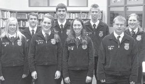 The Pettisville FFA parliamentary procedure team competed recently in the Fulton County FFA Contest at Fayette High School. Members were, front row from left: Annie Eicher, Kelsey Weirauch, Taylor Kruse, Luke Meller. Back row: Travis Beck, Aaron Bruner, Nathan Spotts, Trisha Cousino. The team placed second and earned a Gold rating. Teams must complete an agenda provided by the judges in 15 minutes. The agenda includes four motions and six abilities. A major part of the score is the ability of the team to discuss items thoroughly. A test is also part of the scoring.– courtesy photo