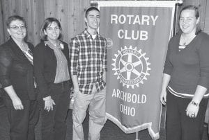 Archbold Rotary Club and Rotarians donated $2,140 to Archbold FISH food pantry and Help Line. FISH serves an average of 126 families per month, which is roughly a 43% increase since 2008. Through the help line, FISH provides assistance to avoid utility shut-offs and evictions for financially-struggling families in the Archbold area. Diania Nemcik, a member of the FISH board, far left, spoke to Rotarians recently. From left: Nemcik; Shelia Santiago, former Archbold Rotary president; Gabe Rodriguez and Morgan Cody, Archbold High School Students of the Month.– courtesy photo