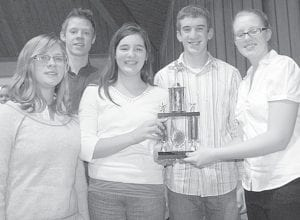 Five Lockport quizzers quizzed out in their first match at the Sunday, Jan. 15, Bible Quiz meet and finished as the top-scoring team of the day, averaging 170 points in two matches. From left: Madalyn Roth, Archbold freshman; Isaac Dahl, Archbold home-schooled junior, Hope Nofziger, Archbold eighth grader; Ryan King, Archbold junior; and Melissa Kinkaid, Stryker eighth grader.– courtesy photo