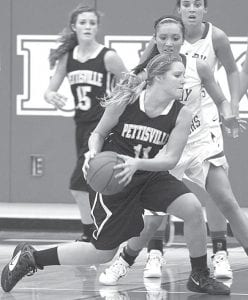 Pettisville's Ashlyn Bontrager works her way to the basket at Stryker, Friday, Jan. 13.– photo by Mary Huber