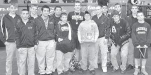 Archbold won the team championship at the 2012 Division III district wrestling meet, Friday and Saturday, Feb. 24-25, at Owens Community College. Members include, front row from left: Damian Short; Travis Jaramillo; Garrett Grime, manager; Austin Double; Jordan Cowell; Oliver Stuckey, Drew Coffey. Back row: Ben Eggers, Logan Day, Jose Hernandez, Austin Ripke, Eli Hammersmith; Kellen Seaman; Kenny Price.– photo by Mario Gomez
