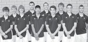 Letterwinners on the AHS boys tennis team are, from left: McCaylen Croninger, Brodie Ranzau, Riley Krueger, Chan Tinsman, Antonio Cuellar, Bryce Tinsman, Kevin Fredrick, Nick Cassidy, Ryan King, David Lauber.– photo by Mary Huber