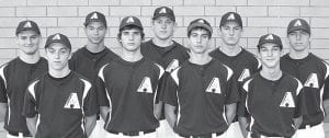 Letterwinners on the AHS baseball team, are, from left: Zach Driver, Kolin Schilt, Taylor Price, Dylan Wyse, Tyson Dietrich, Michael Walker, Chandler Tuckerman, Jase Grosjean, Tanner Wyse.– photo by Mary Huber