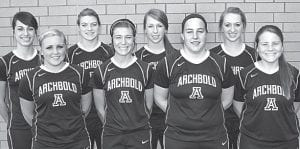 AHS softball letterwinners are, from left: Mindy Rupp, Hanna Allison, Cassidy Wyse, Chelsea Goebel, Becca Gerig, Morgan Cody, Megan Gerig, Ruth Beck.– photo by Mary Huber