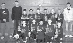 The Archbold fourth grade boys basketball team finished 43-1 this season; won the Defiance, Tinora, Montpelier, Stryker, and Archbold tournaments; and finished second in the Angola, Ind. tournament. Front row, from left: Adam Walker, Kade Kern, Noah Garcia, Trey Theobald, Elijah Zimmerman. Back row: Andy McCarty and Dave Mohring, coaches; Drew McCarty, Drake Mohring, Ethan Hagans, Isaiah Gomez, Matthew Gladieux, Noah Cheney, Telly Fricke, coach.– courtesy photo