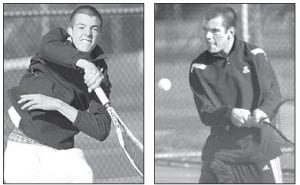 Bryce Tinsman, left, and brother Chan, right, were each on an AHS doubles team that won their opening matches of the season, Monday, March 26.– photos by Mary Huber