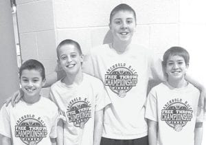 Toby Walker, far right, won the 13-year-old division at the 36th annual Ohio Knights of Columbus State Free-Throw Shooting Championship the weekend of March 17. He made 23 of 25 free throws. Kade Kern, far left, placed second in the 10- year-old division, making 19 of 25. Also competing were Bryce Williams, second from left, in the 12-year-old division, and Mike Weigand, third from left, in the 14-year-old division. The quartet, all from Archbold, won the local sectional, the Defiance district, and the Toledo regional to get to the state competition.– courtesy photo
