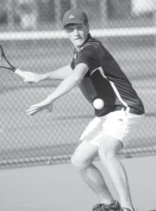 Nick Cassidy keeps his eye on the ball, and won all three of his matches last week.– photo by Mary Huber