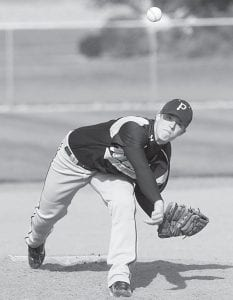 Alex Roth delivers a pitch in Pettisville's non-league game with Fairview, Thursday, March 29.– photo by Mary Huber