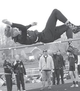 Austin Dykstra cleared 5-6 to win the high jump in Pettisville's dual meet with Liberty Center, Saturday, March 31.– photo by Jack Frey